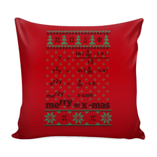 Merry = X-Mas Math Equation Festive Funny Ugly Christmas Holiday Sweater Decorative Throw Pillow Cases Cover(4 Colors)-Pillows-Red-JoyHip.Com