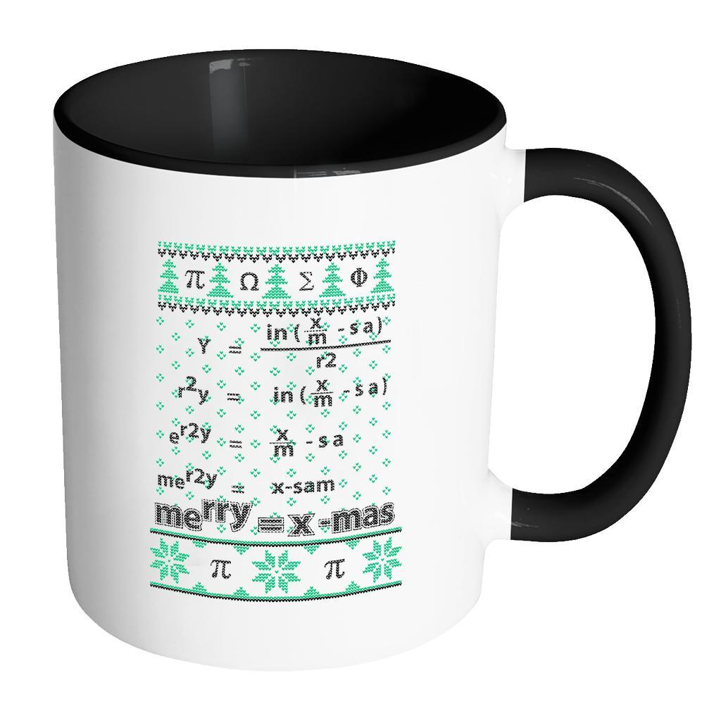 Merry = X-Mas Math Equation Ugly Christmas Sweater 11oz Accent Coffee Mug (7 Colors)-Drinkware-Accent Mug - Black-JoyHip.Com