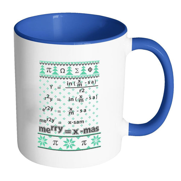 Merry = X-Mas Math Equation Ugly Christmas Sweater 11oz Accent Coffee Mug (7 Colors)-Drinkware-Accent Mug - Blue-JoyHip.Com