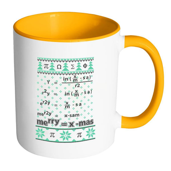 Merry = X-Mas Math Equation Ugly Christmas Sweater 11oz Accent Coffee Mug (7 Colors)-Drinkware-Accent Mug - Orange-JoyHip.Com