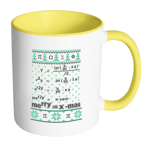 Merry = X-Mas Math Equation Ugly Christmas Sweater 11oz Accent Coffee Mug (7 Colors)-Drinkware-Accent Mug - Yellow-JoyHip.Com