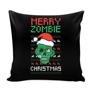 Merry Zombie Christmas Funny Festive Ugly Christmas Holiday Sweater Decorative Throw Pillow Cases Cover(4 Colors)-Pillows-Black-JoyHip.Com