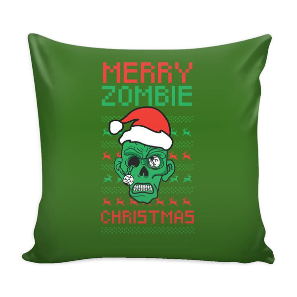 Merry Zombie Christmas Funny Festive Ugly Christmas Holiday Sweater Decorative Throw Pillow Cases Cover(4 Colors)-Pillows-Green-JoyHip.Com