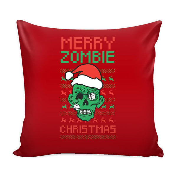 Merry Zombie Christmas Funny Festive Ugly Christmas Holiday Sweater Decorative Throw Pillow Cases Cover(4 Colors)-Pillows-Red-JoyHip.Com