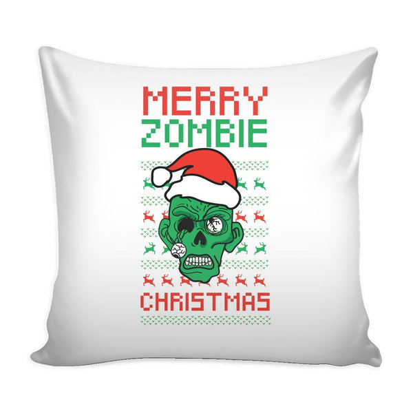 Merry Zombie Christmas Funny Festive Ugly Christmas Holiday Sweater Decorative Throw Pillow Cases Cover(4 Colors)-Pillows-White-JoyHip.Com