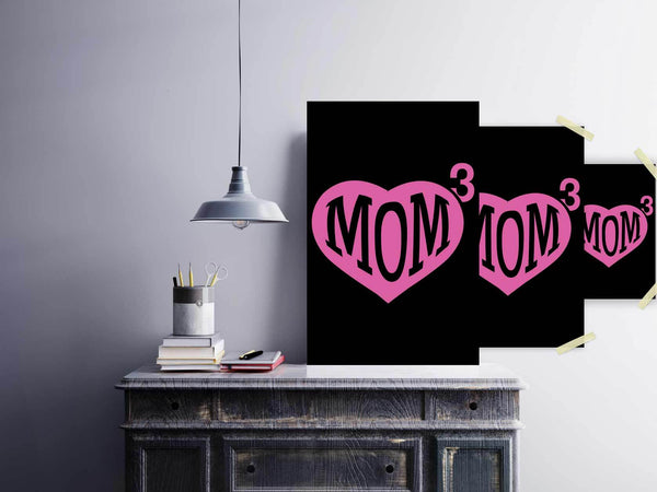 Mom 3 Kid Cube Triple Funny Cute Mother Day Poster Wall Art Room Decor Gift Idea-Posters 2-JoyHip.Com