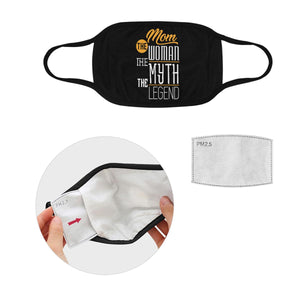 Mom The Woman Myth Legend Funny Washable Reusable Face Mask With Filter Pocket-Face Mask-L-Black-JoyHip.Com