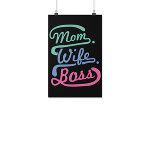 Mom Wife Boss Funny Cute Mothers Day Poster Wall Art Home Room Decor Gift Ideas-Posters 2-11x17-JoyHip.Com