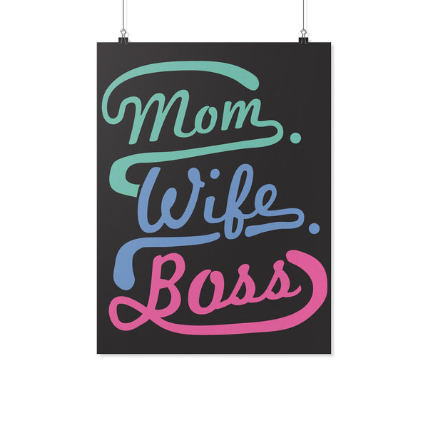 Mom Wife Boss Funny Cute Mothers Day Poster Wall Art Home Room Decor Gift Ideas-Posters 2-18x24-JoyHip.Com