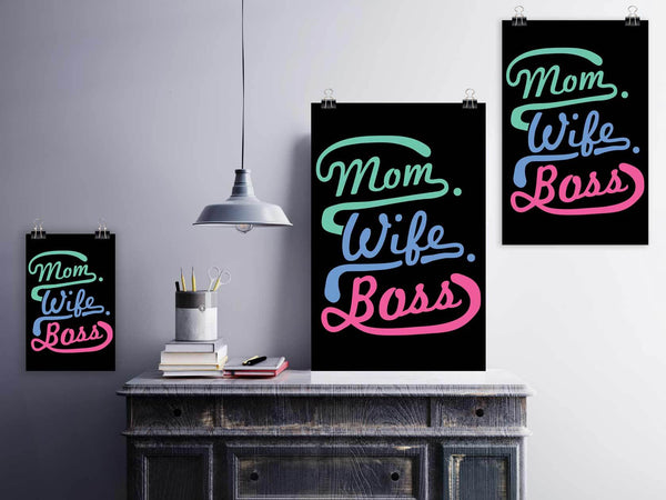 Mom Wife Boss Funny Cute Mothers Day Poster Wall Art Home Room Decor Gift Ideas-Posters 2-JoyHip.Com
