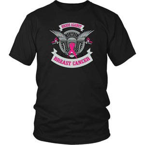 Motorcycle Bikers Against Breast Cancer Pink Ribbon Biker Gift TShirts-T-shirt-District Unisex Shirt-Black-JoyHip.Com