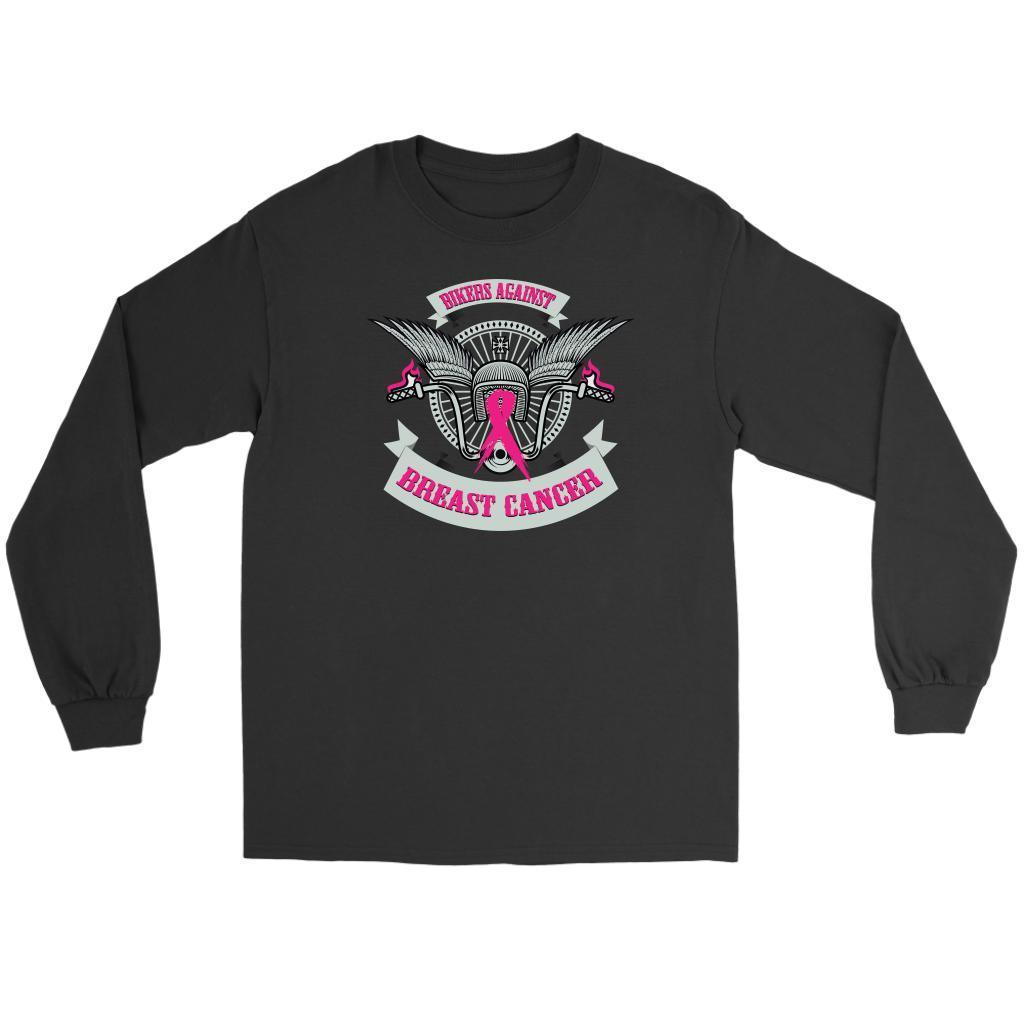 Motorcycle Bikers Against Breast Cancer Pink Ribbon Biker Long Sleeve-T-shirt-Gildan Long Sleeve Tee-Black-JoyHip.Com