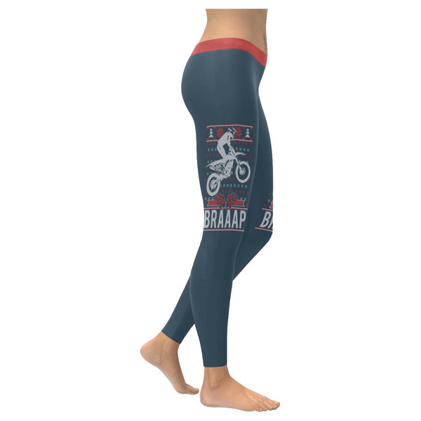 Motorcycle Dirt Bike Motocross Braaap Gift Ideas Ugly Christmas Womens Leggings-XXS-Grey-JoyHip.Com