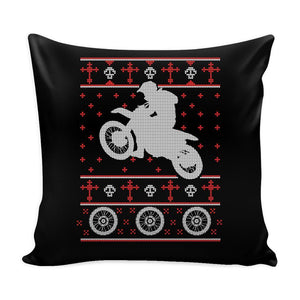 Motorcycle Dirt Bike Motocross Festive Funny Ugly Christmas Holiday Sweater Decorative Throw Pillow Cases Cover(4 Colors)-Pillows-Black-JoyHip.Com