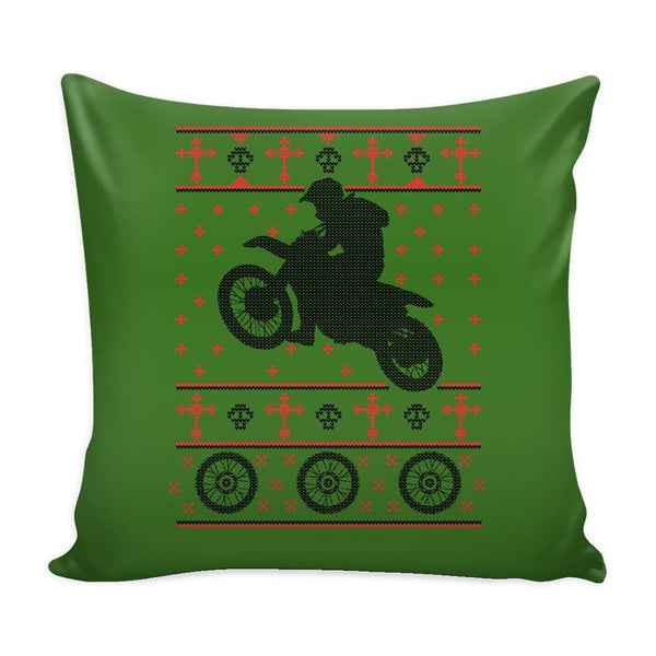 Motorcycle Dirt Bike Motocross Festive Funny Ugly Christmas Holiday Sweater Decorative Throw Pillow Cases Cover(4 Colors)-Pillows-Green-JoyHip.Com