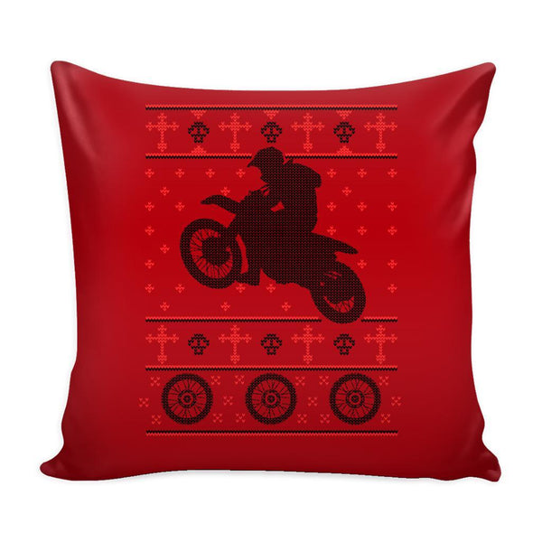 Motorcycle Dirt Bike Motocross Festive Funny Ugly Christmas Holiday Sweater Decorative Throw Pillow Cases Cover(4 Colors)-Pillows-Red-JoyHip.Com