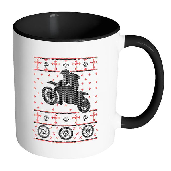 Motorcycle Dirt Bike Motocross Ugly Christmas Sweater 11oz Accent Coffee Mug (7 Colors)-Drinkware-Accent Mug - Black-JoyHip.Com