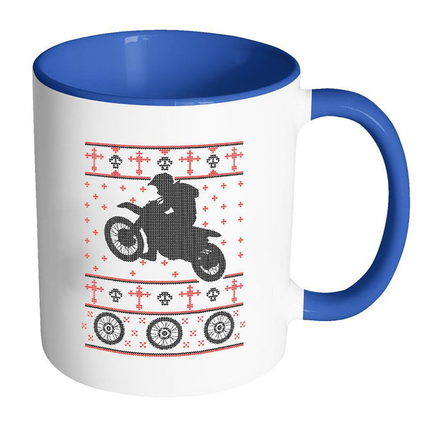 Motorcycle Dirt Bike Motocross Ugly Christmas Sweater 11oz Accent Coffee Mug (7 Colors)-Drinkware-Accent Mug - Blue-JoyHip.Com