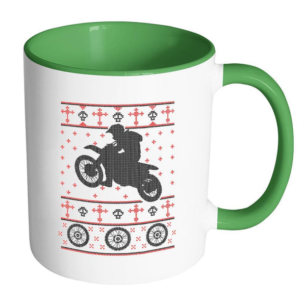 Motorcycle Dirt Bike Motocross Ugly Christmas Sweater 11oz Accent Coffee Mug (7 Colors)-Drinkware-Accent Mug - Green-JoyHip.Com