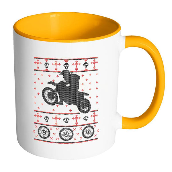 Motorcycle Dirt Bike Motocross Ugly Christmas Sweater 11oz Accent Coffee Mug (7 Colors)-Drinkware-Accent Mug - Orange-JoyHip.Com