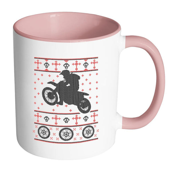Motorcycle Dirt Bike Motocross Ugly Christmas Sweater 11oz Accent Coffee Mug (7 Colors)-Drinkware-Accent Mug - Pink-JoyHip.Com