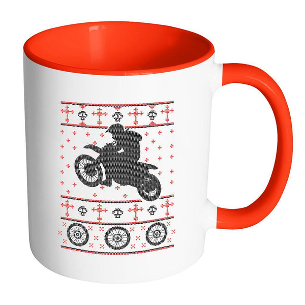 Motorcycle Dirt Bike Motocross Ugly Christmas Sweater 11oz Accent Coffee Mug (7 Colors)-Drinkware-Accent Mug - Red-JoyHip.Com