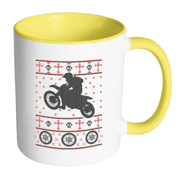 Motorcycle Dirt Bike Motocross Ugly Christmas Sweater 11oz Accent Coffee Mug (7 Colors)-Drinkware-Accent Mug - Yellow-JoyHip.Com