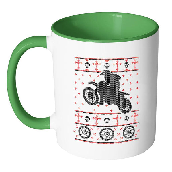 Motorcycle Dirt Bike Motocross Ugly Christmas Sweater 11oz Accent Coffee Mug (7 Colors)-Drinkware-JoyHip.Com