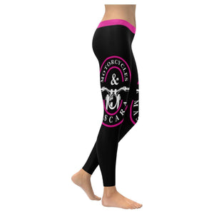Motorcycles & Mascara Funny Biker Gift Ideas Chopper Hogs UPF40+ Womens Leggings-XXS-Black-JoyHip.Com