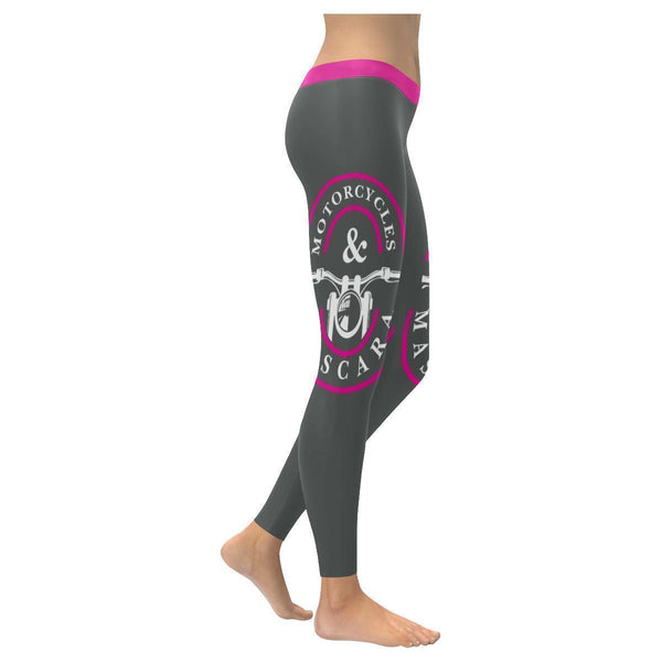 Motorcycles & Mascara Funny Biker Gift Ideas Chopper Hogs UPF40+ Womens Leggings-XXS-Grey-JoyHip.Com