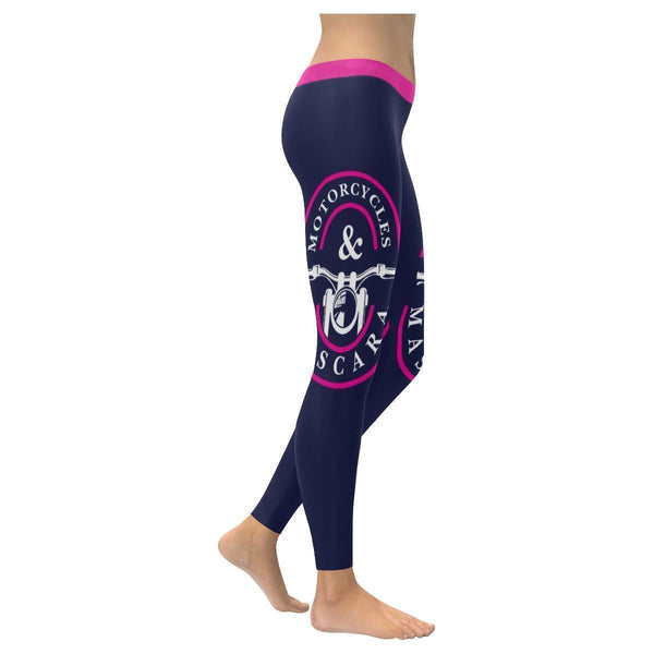 Motorcycles & Mascara Funny Biker Gift Ideas Chopper Hogs UPF40+ Womens Leggings-XXS-Navy-JoyHip.Com