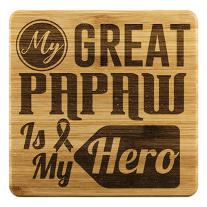My Great Papaw Is My Hero Prostate Cancer Awareness Cool Drink Coasters Set Gift-Coasters-Bamboo Coaster - 4pc-JoyHip.Com