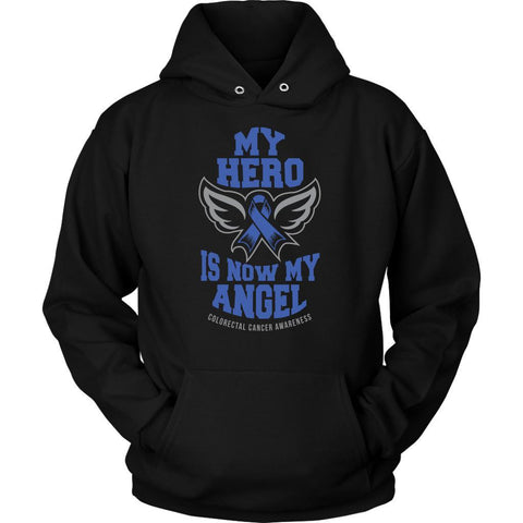 My Hero Is Now My Angel Colorectal Cancer Awareness Blue Ribbon Colon Cancer Unisex Hoodie-T-shirt-Unisex Hoodie-Black-JoyHip.Com