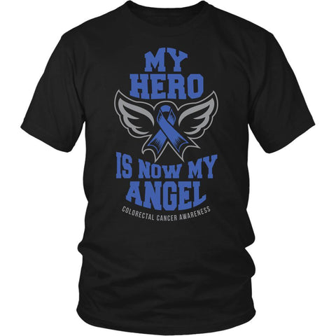 My Hero Is Now My Angel Colorectal Cancer Awareness Blue Ribbon Colon Cancer Unisex T-Shirt-T-shirt-District Unisex Shirt-Black-JoyHip.Com