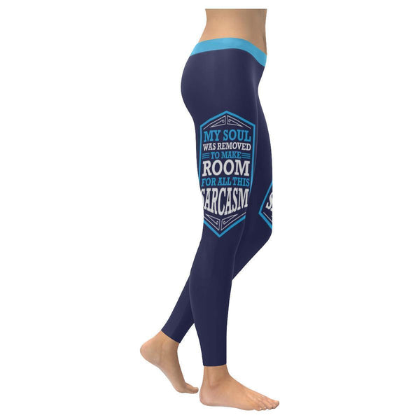 My Soul Was Removed To Make Room For All This Sarcasm Humor Funny Women Leggings-XXS-Navy-JoyHip.Com