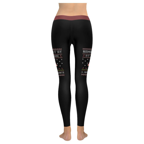 Namastay At Home Wait For Santa Namaste Yoga Funny Gift Ugly Christmas Leggings-JoyHip.Com