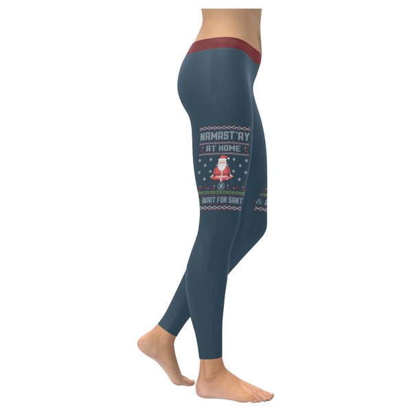 Namastay At Home Wait For Santa Namaste Yoga Funny Gift Ugly Christmas Leggings-XXS-Grey-JoyHip.Com