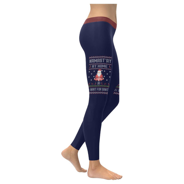 Namastay At Home Wait For Santa Namaste Yoga Funny Gift Ugly Christmas Leggings-XXS-Navy-JoyHip.Com