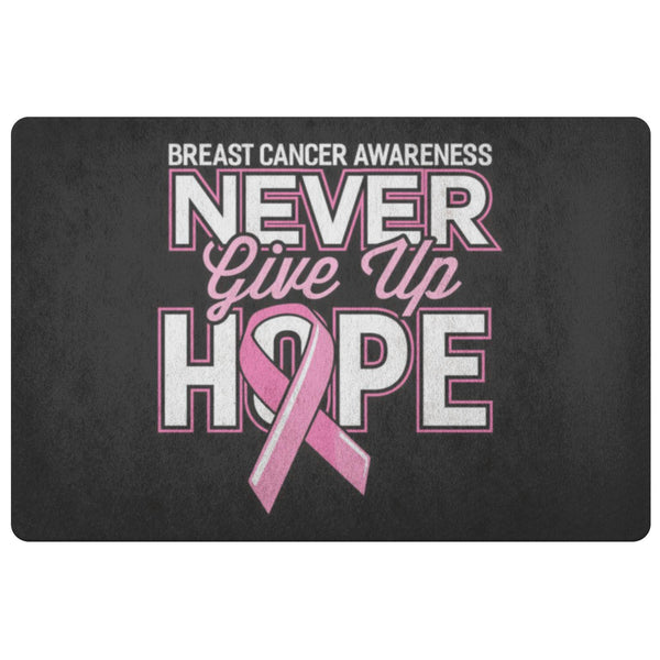 Never Give Up Hope Pink For Breast Cancer 18X26 Thin Indoor Door Mat Entry Rug-Doormat-Black-JoyHip.Com
