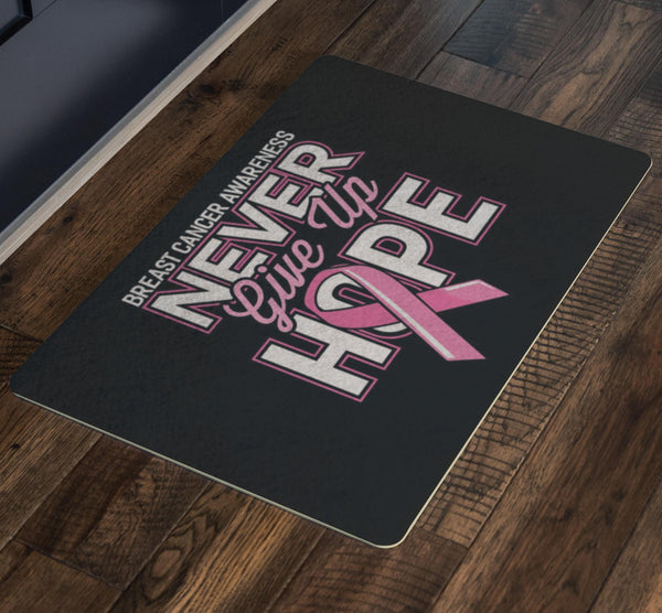 Never Give Up Hope Pink For Breast Cancer 18X26 Thin Indoor Door Mat Entry Rug-Doormat-JoyHip.Com
