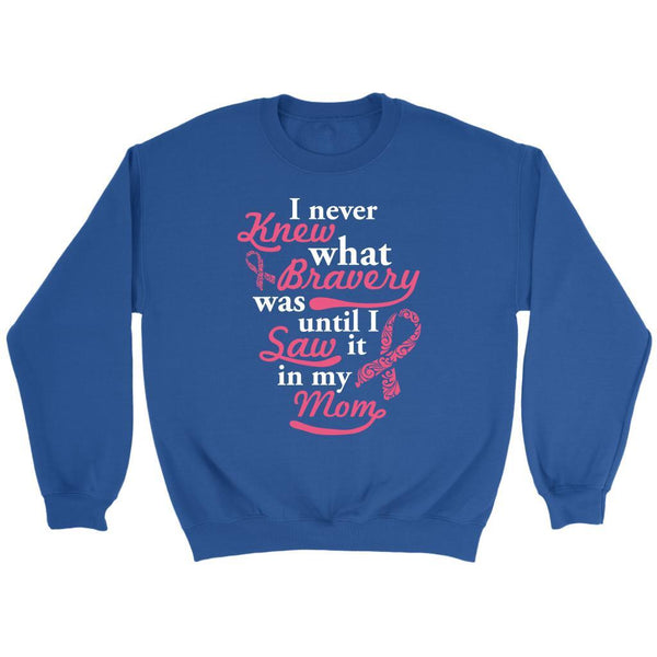 Never Knew What Bravery Was Until I Saw It In My Mom Retro Breast Cancer Sweater-T-shirt-Crewneck Sweatshirt-Royal Blue-JoyHip.Com