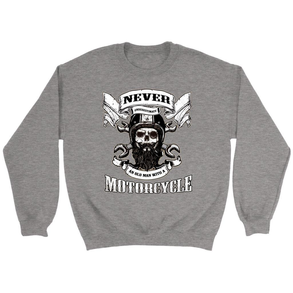Never Underestimate an Old Man with A Motorcycle Funny Harley Bider Gift Sweater