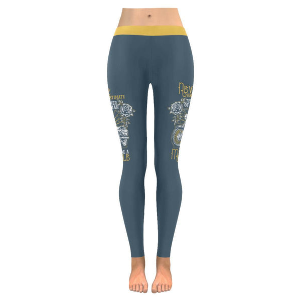 Never Underestimate The Power Of A Woman That Ride A Motorcycle Womens Leggings-JoyHip.Com