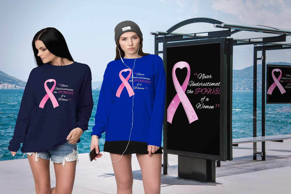 Never Underestimate The Power Of A Women Breast Cancer Awareness Gift Sweater-T-shirt-JoyHip.Com