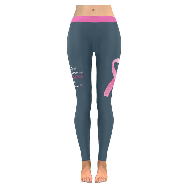 Never Underestimate The Power Of A Women Breast Cancer Pink Ribbon Women Legging-JoyHip.Com