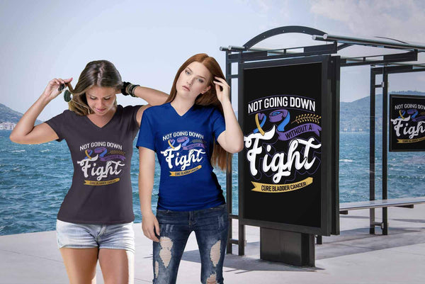Not Going Down Without A Fight Cure Bladder Cancer Awareness Gift VNeck TShirt-T-shirt-JoyHip.Com