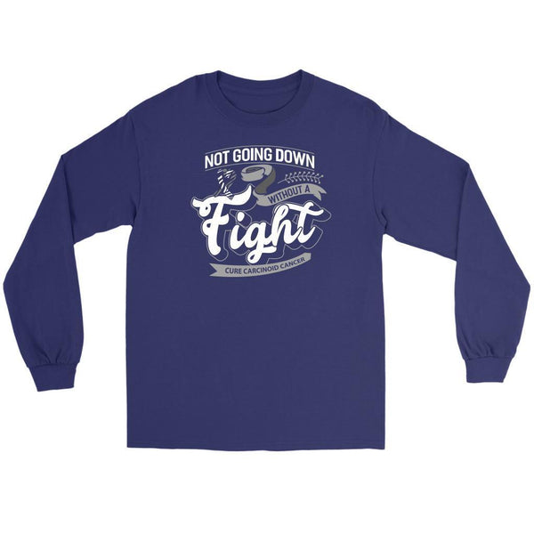 Not Going Down Without A Fight Cure Carcinoid Cancer Awareness Ideas Long Sleeve-T-shirt-Gildan Long Sleeve Tee-Purple-JoyHip.Com