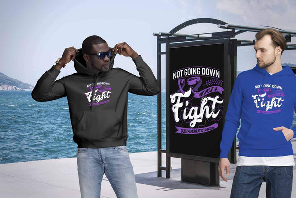 Not Going Down Without A Fight Cure Pancreatic Cancer Awareness Gift Idea Hoodie-T-shirt-JoyHip.Com