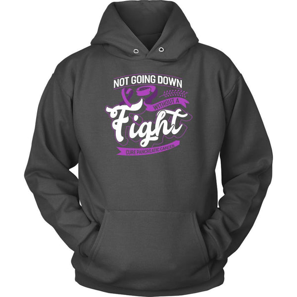 Not Going Down Without A Fight Cure Pancreatic Cancer Awareness Gift Idea Hoodie-T-shirt-Unisex Hoodie-Grey-JoyHip.Com