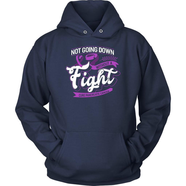 Not Going Down Without A Fight Cure Pancreatic Cancer Awareness Gift Idea Hoodie-T-shirt-Unisex Hoodie-Navy-JoyHip.Com